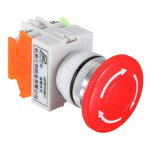 20pcs N/O N/C Emergency Stop Switch Push Button Mushroom 4 Screw Terminals