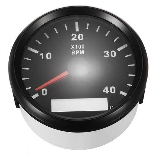 12/24V Marine Tachometer Boat Tacho Meter Gauge LCD Hourmeter 0-4000 RPM 85mm