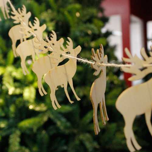 Christmas 10Pcs Wood DIY Banner Woodchips Garland Hanging Pendant Christmas Tree Ornaments Gift