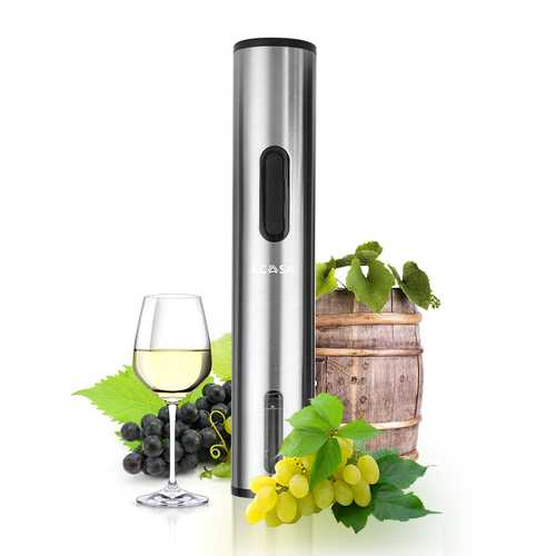 KCASA KC-AA95 Electric Red Wine Auto Opener  Stainless Steel Metallic Silver With Removable Free Foil Cutter