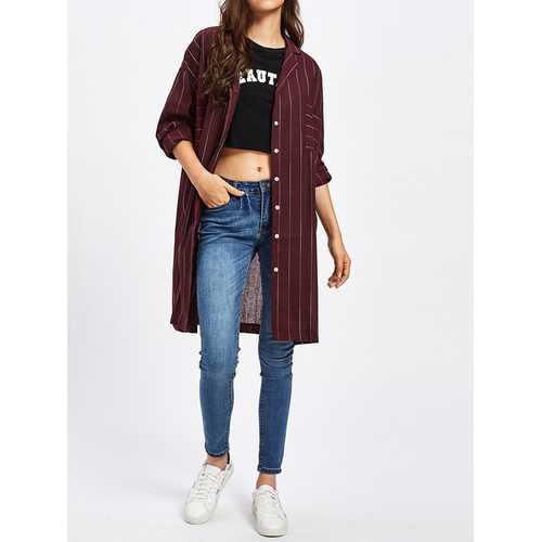 Casual Women Long Sleeve Stripe Blouse