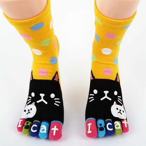 Cute Cartoon Cat Thick Warm Five Toes Socks