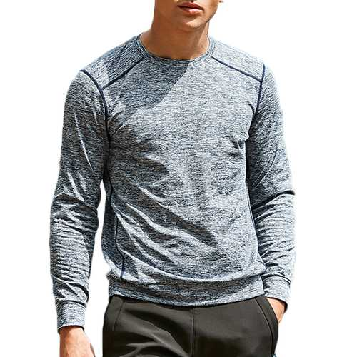 Autumn Winter Men's Plus Cashmere Warm Cationic T-shirt Casual Round Neck Long sleeves T-shirt