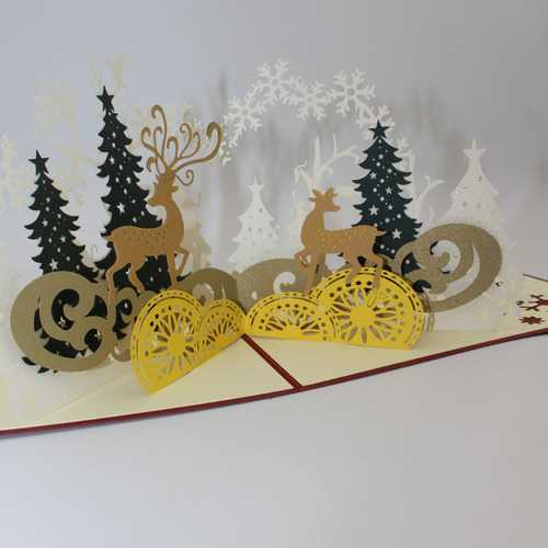 Christmas Forest Deer 3D Pop Up Greeting Card Christmas Gifts Party Greeting Card Paper Carving Gift