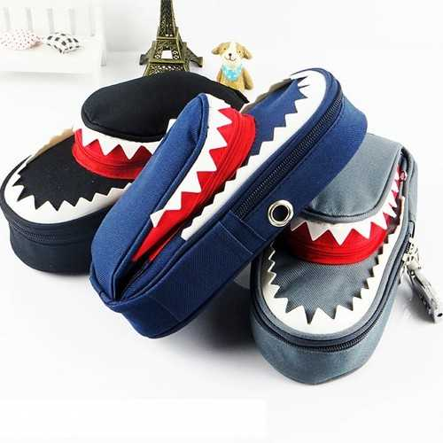 WAM PC-CB01 Shark Pencil Case Children School Pen Pouch Bag  Boys Stationery with Lock