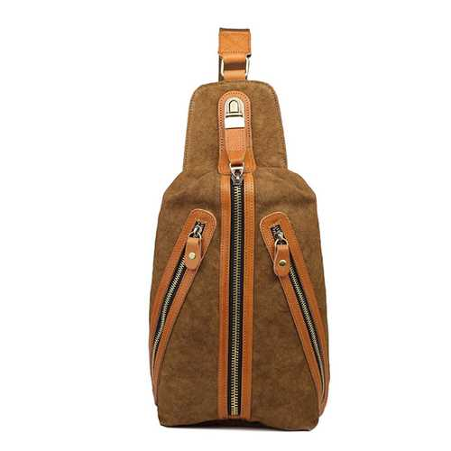 Men Retro Canvas Crossbody Bag Chest Bag Fashion Sling Bag
