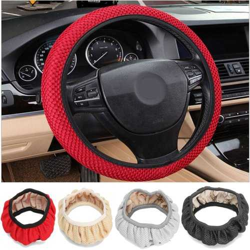 38cm Universal Car Steering Wheel Covers Non-Slip Summer Cool Elastic Hand Made