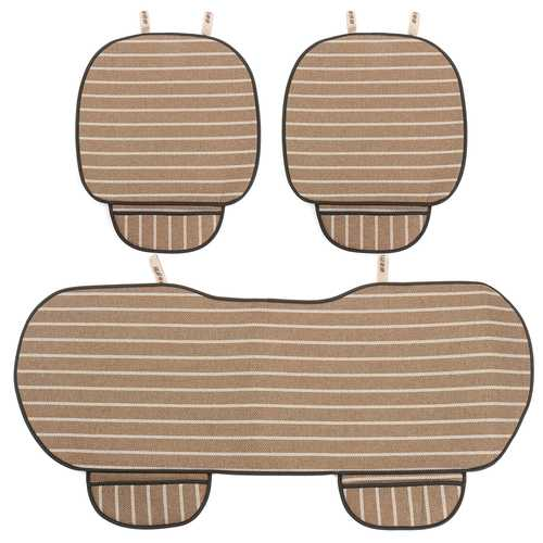 3Pcs Car Seat Cover 5 Seats Breathable Linen Fabric Pad Mat Auto Chair Cushion