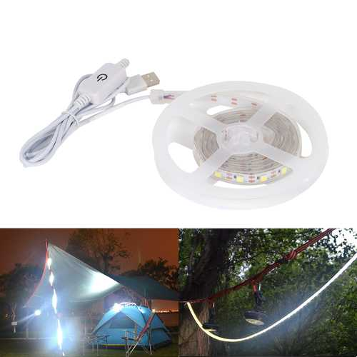 1M Strip Light 60LED Waterproof USB Camping Light 16LM Rechargeable Emergency Lamp