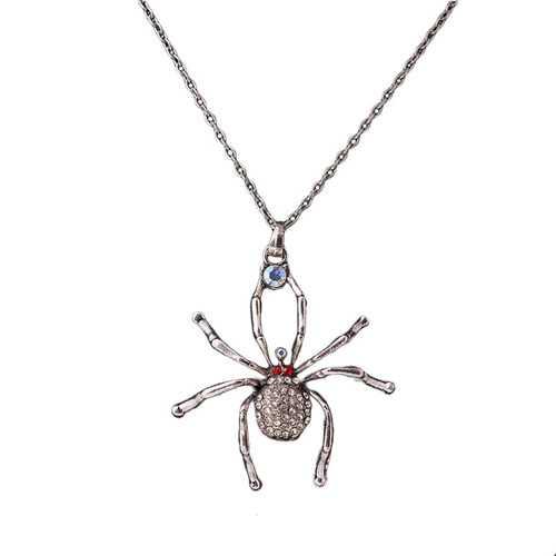 Fashion Spider Pendant Rhinestone Chain Antique Silver Necklace Women's Jewelry