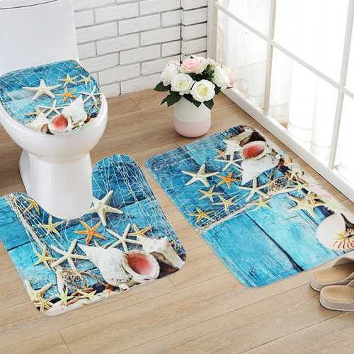 3PCS Set Blue Ocean Style Bathroom Set Pedestal Rug Lid Toilet Cover Bath Mat