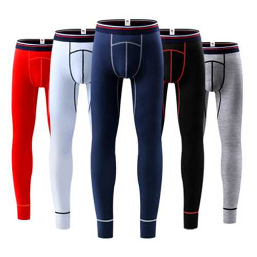 Mens Elastic Thin Mid Rise Slim Cotton Casual U Convex Long Johns Sleepwear Pajamas Bottoms