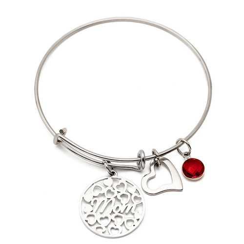 Heart Love Colorful Sweet Stainless Steel Bracelet for Mom