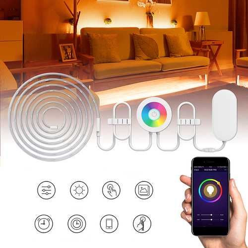 2M Waterproof SMD5050 RGB Smart WIFI LED Strip Light Work With Alexa Echo Voice Control DC12V