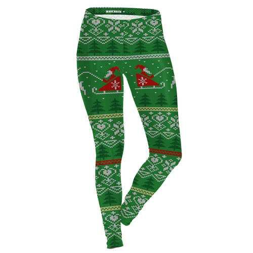 Women Christmas Printed Leggings Yoga Casual Elastic Fitness  Elastic Training Pencil Pants