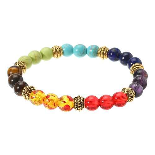 8mm Colorful Lava Beaded Agate Handmade Chain Chakra Energy Lucky Bracelet