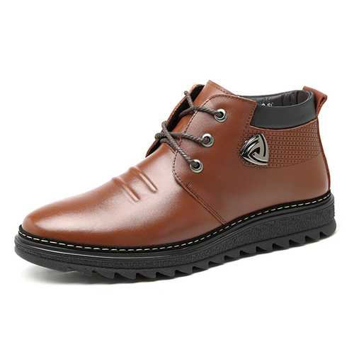 Men Comfortable Warm Fur Lining Ankle Leather Boots