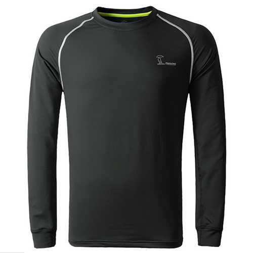 Outdoor Quick-drying Long-sleeved Round Neck Hygroscopic Wicking Sports Warm T-Shirts