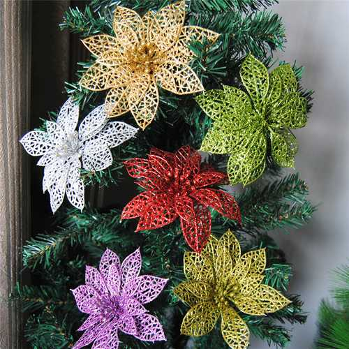 10Pcs Christmas Glitter Hollow Flower Decoration Flowers for Christmas Trees New Year Decorations Wedding Party Decor