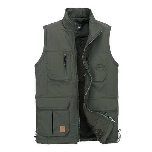 Men Outdoor Vest Casual Multi Pockets Pure Color Photography Fishing Thicker
