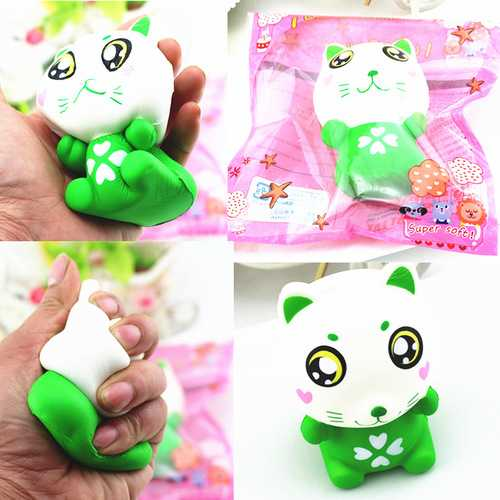 11.5cm PU Corful Green Cat Slow Rising Squishy Decompression Toys With Original Packaging