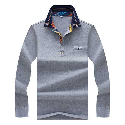Autumn Winter Mens Turndown Collar Long-sleeved T-shirt Solid Color Pocket T-shirt