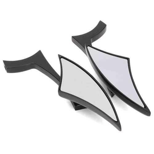 Pair Motorcycle Rear View Mirrors For Harley Cruiser Bobber Chopper Aluminum Black