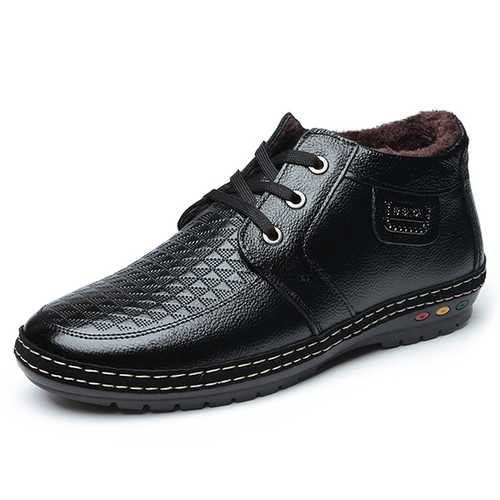 Men Casual Business Genuine Leather Fur Lining High Top Oxfords Shoes