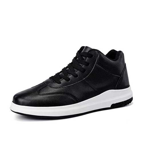 Men Comfortable Genuine Leather High Top Sneakers