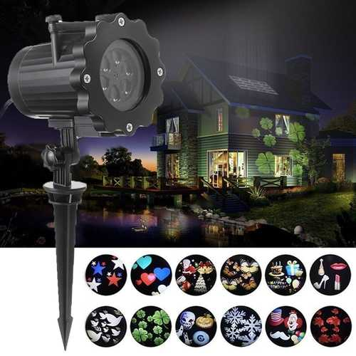 12 Patterns 4W Outdoor LED Projector Stage Light Waterproof Lawn Garden Landscape Christmas Decor