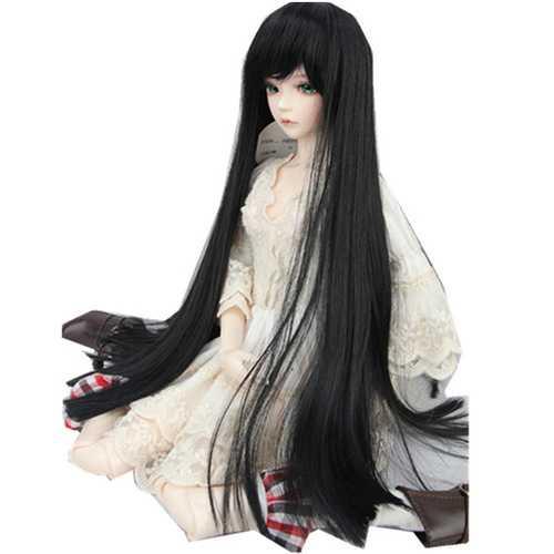 "BJD Doll Wig 8-9"" 22-24cm 1/3 BJD SD Long Straight Hair Black Toy Costume Wig"