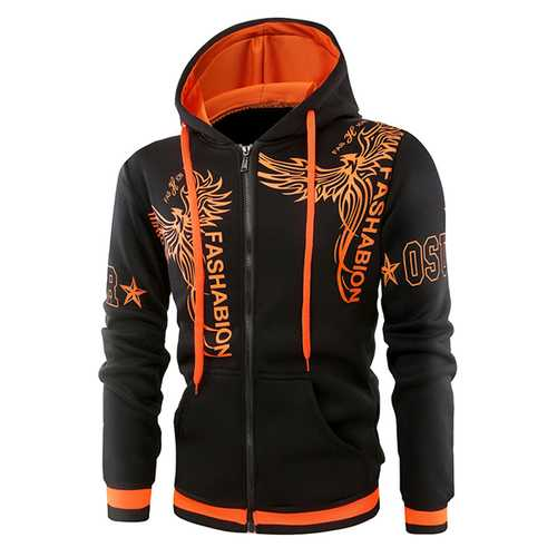 Fashion 3D Printed Stitching Hoodies Winter Men's Casual Zip Up Sports Hoodies Tops