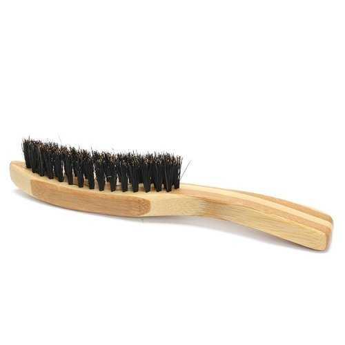Portable Men Boar Bristle Beard Brush Facial Hair Shaving Brush Long Bamboo Handle