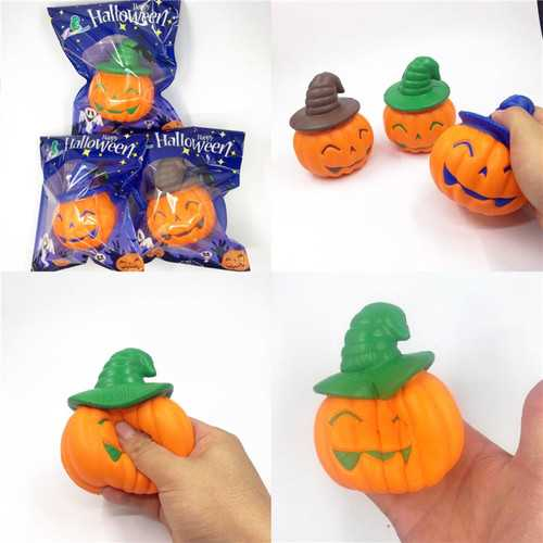 Chameleon Soft Halloween Pumpkin Witch Hat Squishy Slow Rising Stress Stretch Kids Toy Gift