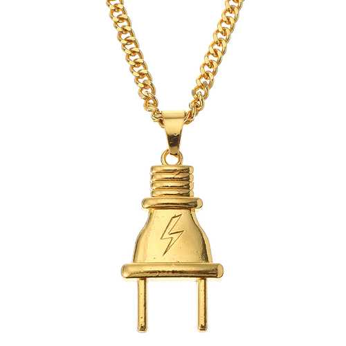 Fashion Lightning Plug Tag Pendant Chain Alloy Punk Style Necklace for Men