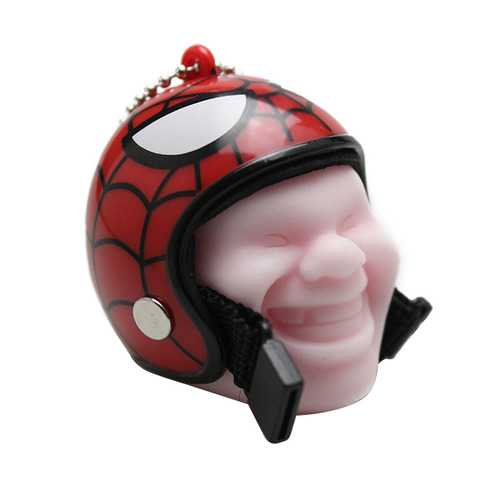 Creative Motorcycle Helmet Vent Cartoon Face Keychain Laugh Expression Plastic Keyring Gift