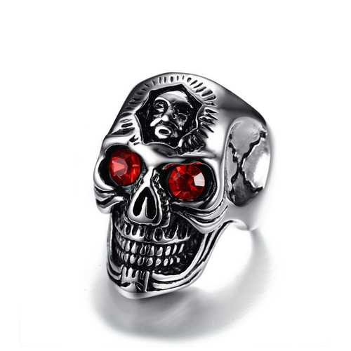 Men's Stainless Steel Red Rhinestone Ring Trendy Skull Head Men Jewelry