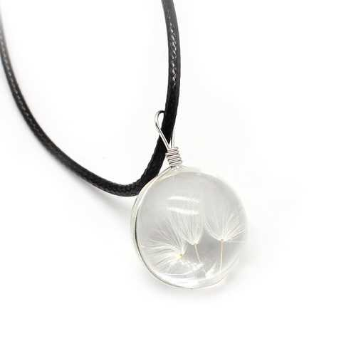 Glass Dried Flower Ball Dandelion Pendant Leather Chain