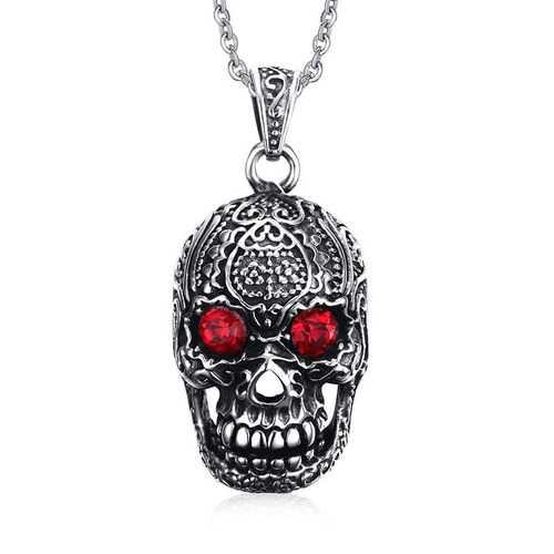 Fashion Men's Jewelry Titanium Steel Chain Red Eye Skull Pendant Necklace for Men