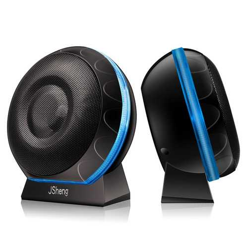 3.5mm+USB Dual HiFi Stereo Bass Desktop Speaker Mini Backlit Sound Box
