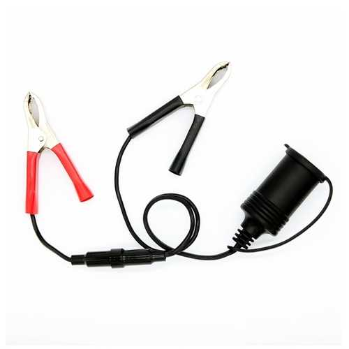 12V Battery Clip To Car Cigarette Lighter Female Socket Adapter Cable With 10A Fuse