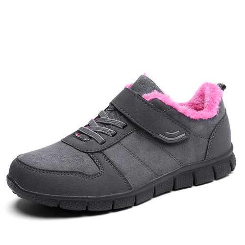 Cotton Shoes Fur Lining Hook Loop Sport Flats For Women