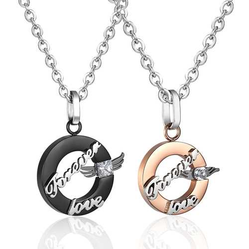 Sweet 1 Pair Stainless Steel Forever Love Wings Necklaces