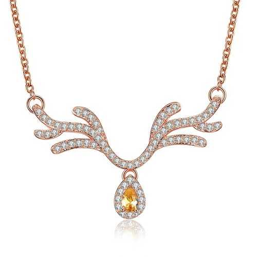 INALIS Women's Sweet Delicate Christmas Deer Zircon Necklace Gift