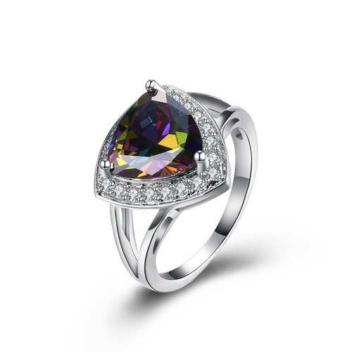 INALIS Women's Elegant Rhinestone Rainbow Silver Ring