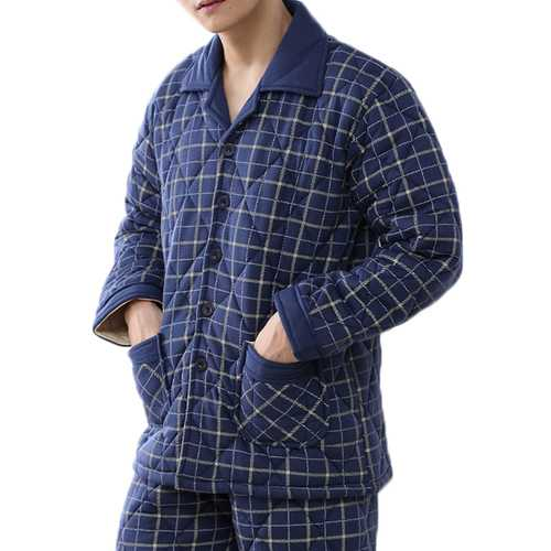 Casual Home Winter Thick Warm Quilted Plaid Lapel Collar Pajamas Sets for Men