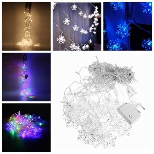 3.5M 96LEDs  8Modes Snowflake Fairy String Light for Christmas Party Patio AC220V