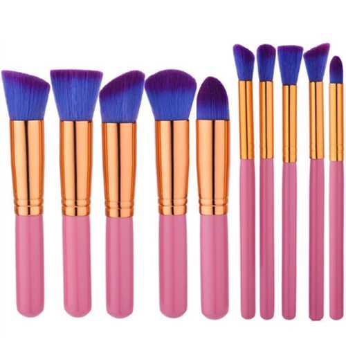 10pcs Pink Purple Soft Makeup Brushes Set Kit Eye Shadow Lips Shaping Blending Foundation Powder