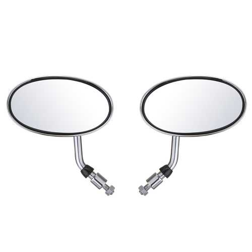 Pair Motorcycle Cafe Racer Rearview Mirror Handle Bar Sliver