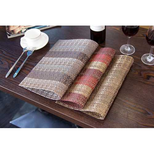 KCASA Placemat Fashion Pvc Dining Table Mat Disc Pads Bowl Pad Coasters Waterproof Table Cloth Pad Slip-Resistant Pad Crossweave Woven Vinyl Placemat